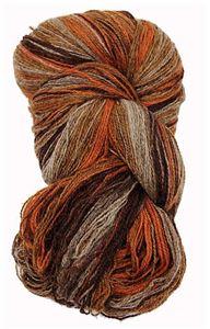 Kauni 8/2 - Farveskifte 100% Uldgarn fra Kauni  -  W-EB Brændt Orange, Chokolade, Gulbrun og Grå