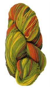 Kauni 8/2 - Farveskifte 100% Uldgarn fra Kauni  -  W-EV Gul, Orange, Æble og Flaskegrøn