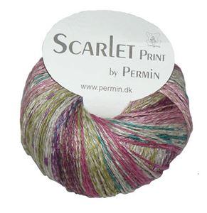 Scarlet og Print - Et hørgarn fra Permin - 04 Aubergine, Æble og Pink