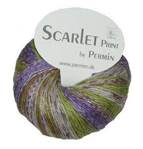 Scarlet og Print - Et hørgarn fra Permin - 05 Lilla, Æble, Grå og Army
