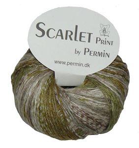 Scarlet og Print - Et hørgarn fra Permin - 07 Grøn, Army og Sand