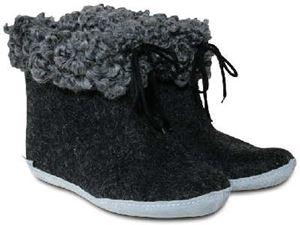 Glerups Filtstøvler med pelskant - koksgrå