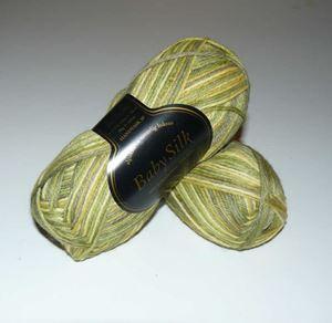 Super lækker BabySilk strikkegarn fra Du Store Alpakka - 372 Grøn Mix