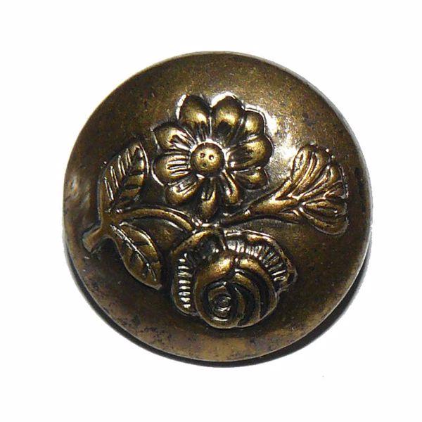 Billede af Antik guld blomsterknap af plast