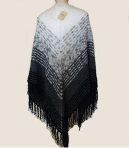 Stort MohairBouclé Sjal - Hvid, grå til sort