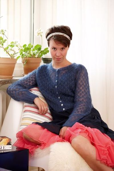 Billede af Kort hulmønstertrøje