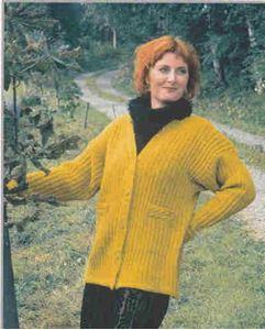 Higginsjakke i halvpatent - PS 012 strikket af Tynn Alpakka fra Du Store Alpakka