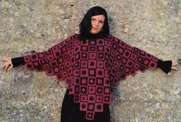 Billede af Hæklet poncho med oldemors firkanter
