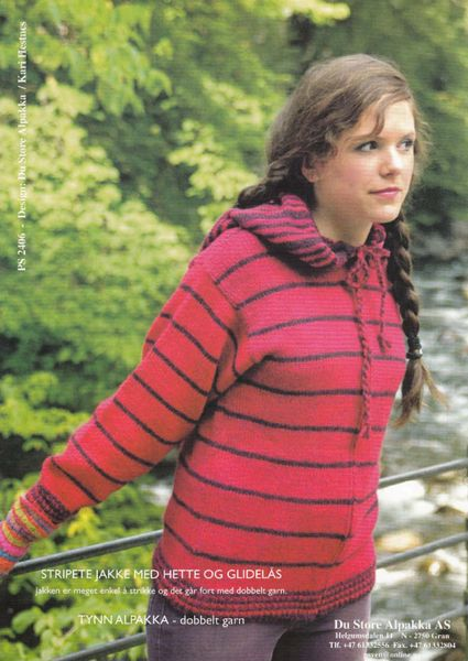 Billede af Stribet trøje med hætte og lynlås
