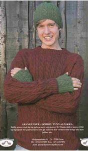 Aran sweater, pulsvarmere og hue - PS 2513 - Af Tynn Alpakka fra Du Store Alpakka