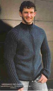 Herretrøje med raglan og lynlås - PS 2408 strikket af Tynn Alpakka fra Du Store Alpakka