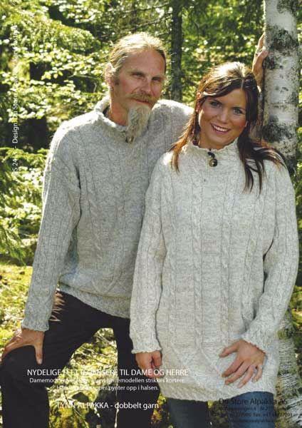 Herre og Dame sweater med snoninger - PS 2413 af Tynn Alpakka fra Du Store Alpakka
