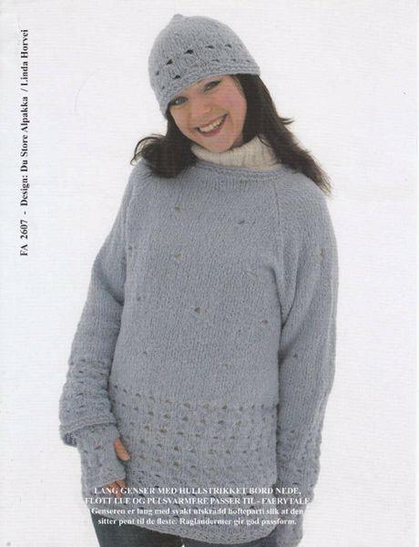 Billede af Lang trøje med hulmønster, hue og pulsvarmere