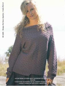 Asymetrisk bluse med sommerfuglemønster - BS 2608 - af BabySilk fra Du Store Alpakka