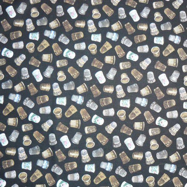 Billede af Fingerbøl på sort - Fat quarter
