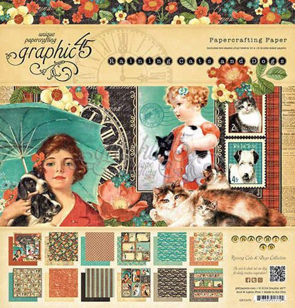 "Blok 12x12 - Raining Cats & Dogs 12"" Designpapir blok fra Graphic 45"