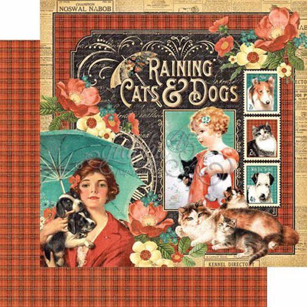 "Raining Cats & Dogs - Raining Cats & Dogs 12"" Designpapir fra Graphic 45"