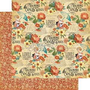 "Precious Pets - Raining Cats & Dogs 12"" Designpapir fra Graphic 45"