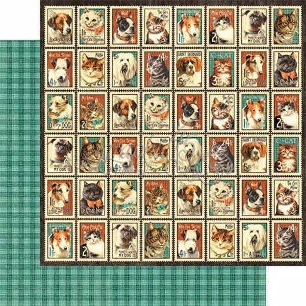"""Mr. Whiskers - Raining Cats & Dogs 12"""" Designpapir fra Graphic 45"""