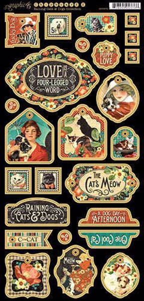 Decorative Chipboard - Raining Cats & Dogs fra Graphic 45