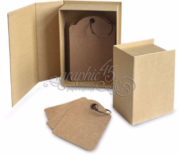 Graphic 45 - Bog Box 9x11 cm og tags - Kraft