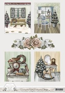 Brocante Christmas designpapir A4 fra  Amy Design - CD10540