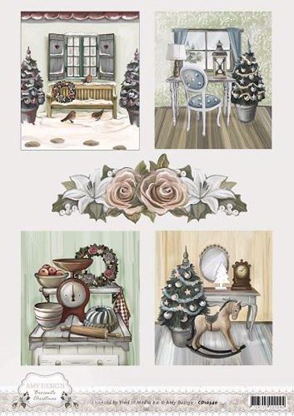 Brocante Christmas designpapir A4 fra  Amy Design - CD10540