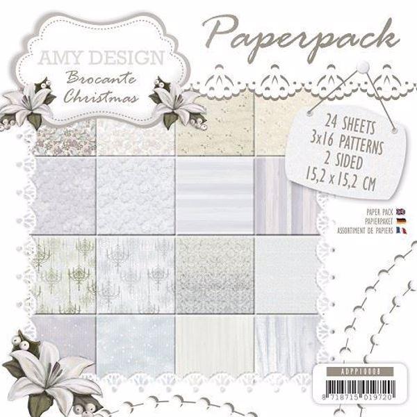 Brocante Christmas designblok 15x15cm fra Amy Design- ADPPI0008