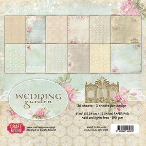 Wedding Garden papirdesignblok 15 x15 cm fra Craftandyoudesign - CPB-WG15