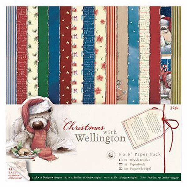 Christmas With Wellington designblok 15x15cm fra Docraft - WEL160902