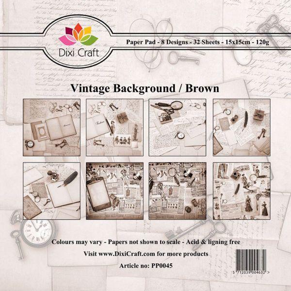 Vintage Bagground designpapirblok fra DixiCraft - Brun - PP0045