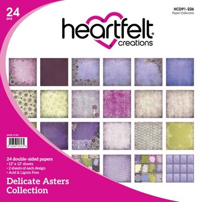"Delicate Asters HCDP1-226  -  12"" Designpapir blok fra Heartfelt Creations"