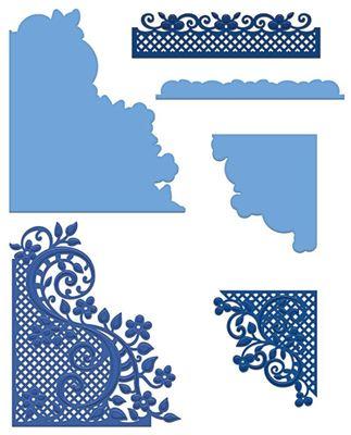 Fleur Borders and Pockets - HCD1-778  -  Dies Standsejern fra Heartfelt Creations