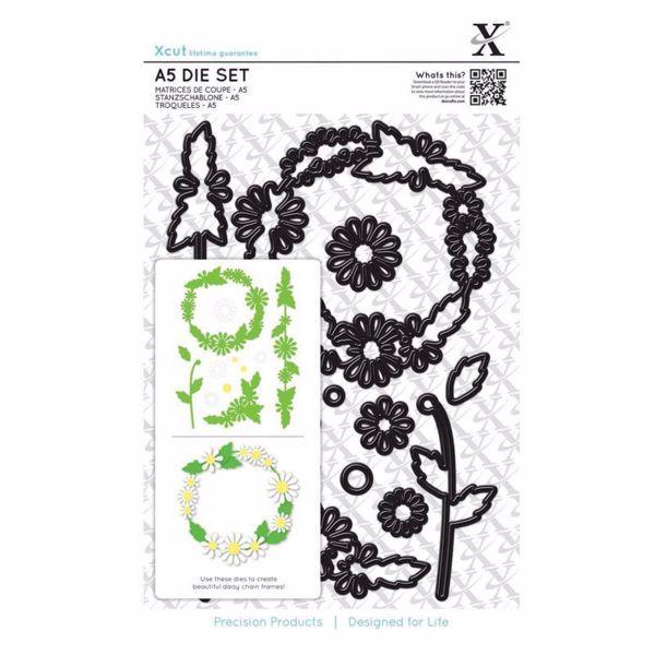 Daisy Chain Frame - Margueritter - Xcut diesæt med magnetplade fra Docraft - XCU503243