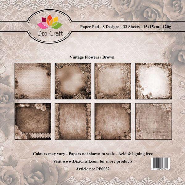 Vintage Flowers designpapirblok fra DixiCraft - Brun - PP0032