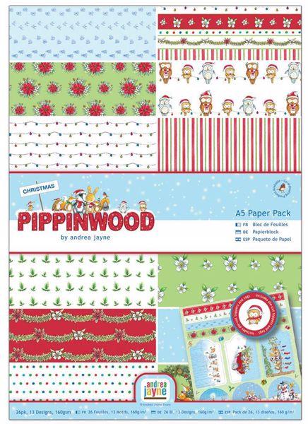 Pippinwood designpapir pakning, 26 ark, 160 gram - PMA160922