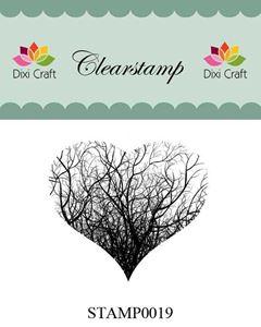 Silikone stempel - Hjerte af grene - fra Dixi Craft - STAMP0019