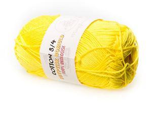 100% økologisk egyptisk bomuldsgarn 8/4 fra Mayflower til lækkert sommer strik, væv og hækling - Gul