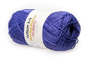 100% økologisk egyptisk bomuldsgarn 8/4 fra Mayflower til lækkert sommer strik, væv og hækling - Mørk Lavendel