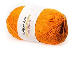 100% økologisk egyptisk bomuldsgarn 8/4 fra Mayflower til lækkert sommer strik, væv og hækling - Orange