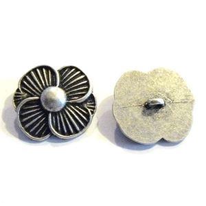 Antik sølvfarvet metalknap - Blomst - 51 mm