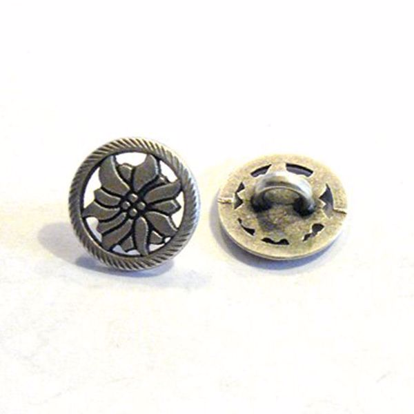 Antik sølvfarvet åben metalknap - Blomst - 13 mm