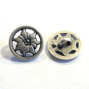 Antik sølvfarvet åben metalknap - Blomst - 15,5 mm
