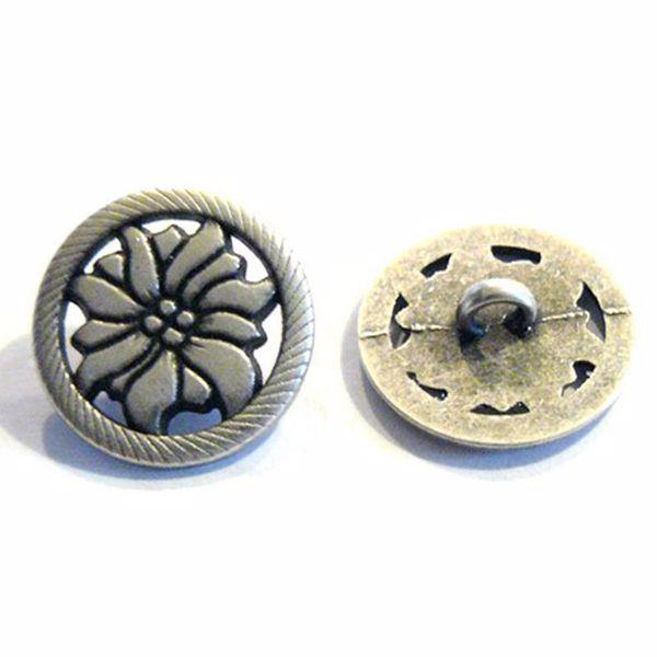 Antik sølvfarvet åben metalknap - Blomst - 20 mm