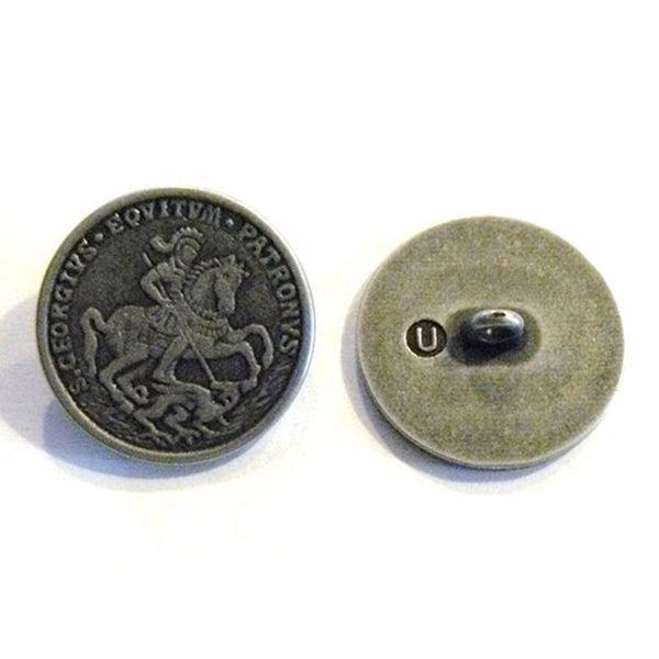 Antik sølvfarvet metalknap - Ridder - 23 mm