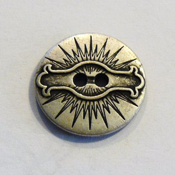 Antik sølvfarvet Dekoreret knap - 22,5 mm