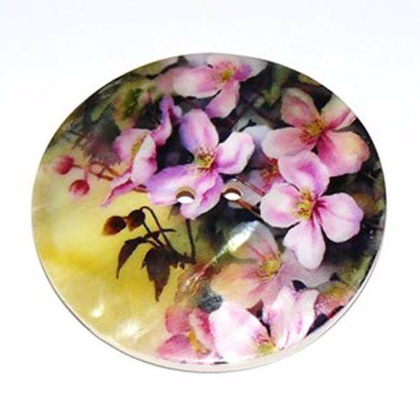 Stor perlemors knap med blomstermotiv - 65 mm
