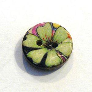 Lille kokosknap med æblegrønne blade - 15 mm