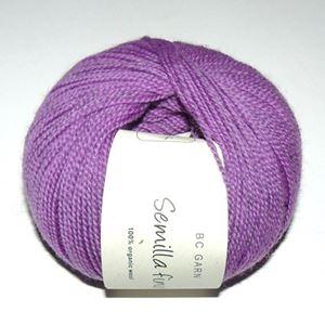 Lækkert blød økologisk uldgarn fra BC Garn - Semilla Fino - Violet ox108