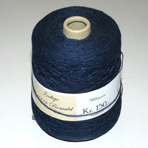 500 gram Indigo farvet bomuld til håndstrik, maskinstrik eller vævning - Blå
